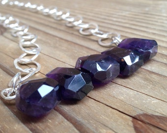 Large Amethyst Stone Necklace on Silver Chain with Handmade Clasp