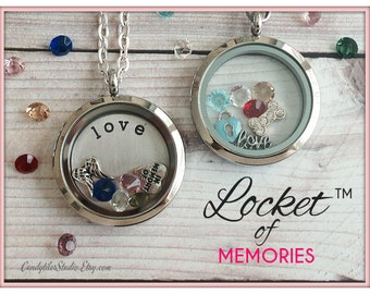 30mm...Floating Memory Stainless Steel Locket Necklace....Comes with Stamped Plate, Charm and Birthstones..Living Locket