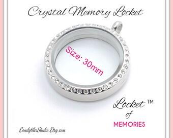1pc...30mm...Crystal Floating Memory Stainless Steel Locket...Living Locket, Glass Locket, Floating Charms, Birthstones, Stamped Plates