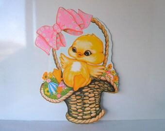Large Vintage Easter Decorations Holiday Decor Spring Chick In Easter Basket