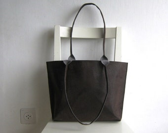 Dark Brown Thick Vegan Leather Tote Shoulder Bag