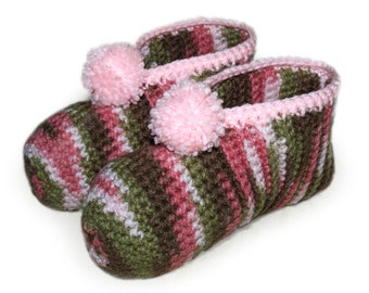 Pink Camouflage Crocheted Slippers, Pink Camo Slippers, Slippers for Women Hunters, Female Military Slippers, Adult Slippers, Ladies Slipper