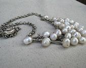 Mermaid Tears. Freshwater pearl bib necklace.