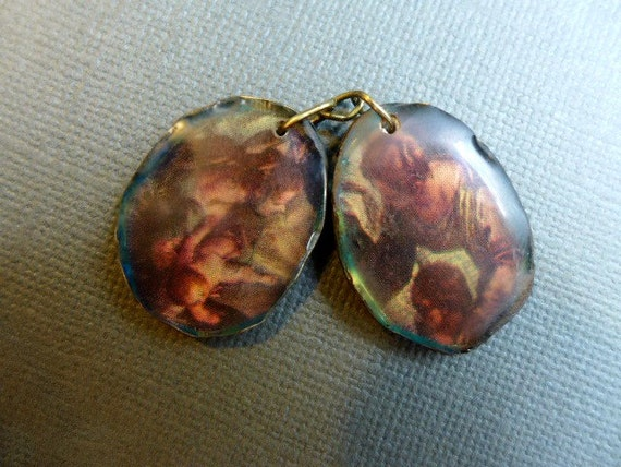 The Mothers. Resin charm asymmetrical earring pair.