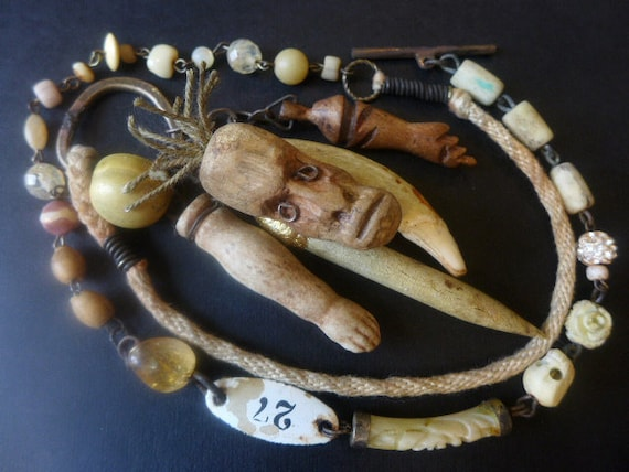 The Despair. Victorian tribal cluster assemblage necklace in ivory cream.