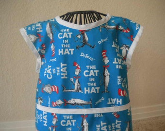 Dr. Seuss  Cat in the Hat Art smock or Apron. Size 2t-3t