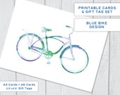 Blue Bicycle Printable Card, Instant Download Printable Cards with Tags Set, 2 Sizes of Cards and Gift Tags