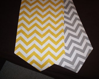 Yellow and Gray Reversible Chevron Table Runner with pointed ends
