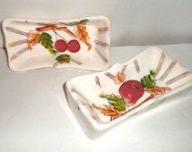 Vintage Fruit Serving Dishes - Royal Sealy Japan - Fruit Dishes - Rectangle Serving Dishes - Pear and Cherry Design Dishes - Serving Dishes