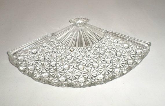 Vintage Cut Glass Dish Fan Shaped Dish Candy Dish
