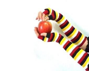 Fingerless Gloves Arm Warmers, Striped  Bohemian Half Finger Long Halloween gloves