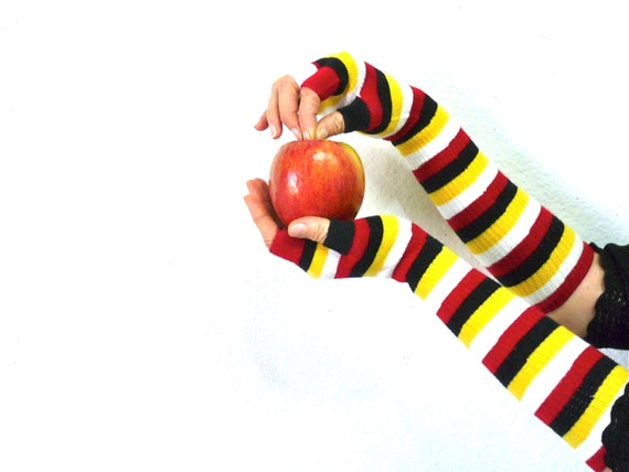 Fingerless Gloves Arm Warmers, Striped  Bohemian Half Finger Long gloves