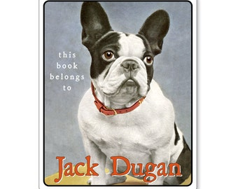 Personalized Bookplates - Vintage Boston Terrier Dog - Gift for Dog Lovers