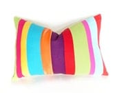 Unique Color Block Pillow, Eclectic Color Banded Pillow, Bold Striped Pillows, Colorful Stripes, Oblong Lumbar,14x20