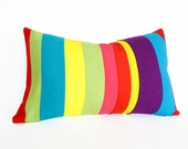 Unique Color Block Pillow, Colorful Childrens Pillow Covers, Bright Bold Color Band Stripes, Eco Chic Striped Lumbar Cushion 12x20