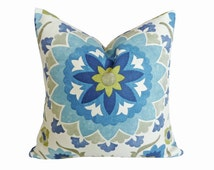 Blue Decorative Pillows, Coastal Pillow Covers, Large Medallions, Suzani Pillows, Navy Blue, Cream, Green, 18x18, 20x20, 22x22, 26x26
