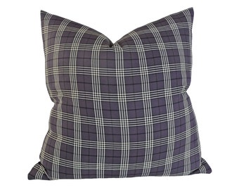 Grey Plaid Pillow Covers, Grey Plaid Cushions, Grey Throw Pillows, 18x18 20x20, Grey Lodge Pillows, Masculine Couch Pillow, PillowThrowDecor