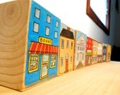 """One Wooden Block. """"Shops"""". Custon Made to Order, Hand Drawn, Hand Painted. Room Decor. For Children and Adults."""