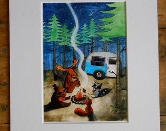 Wall Art. Camping. 8x10 matted print of a watercolor illustration. Woodland animals camp in the pine forest, playing music.