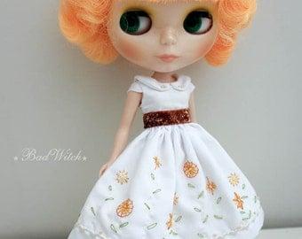 Blythe Dress White Floral Embroidery Dress Pure Neemo Blythe - Orange