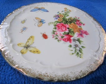 Lemon Plate Butterfly Floral Rose Royal Crown Hand Painted Vintage Gold Scalloped Trim