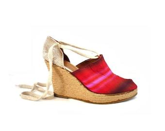KELIAN FRench Vintage Silk Open Toe Strap Wedge Shoes