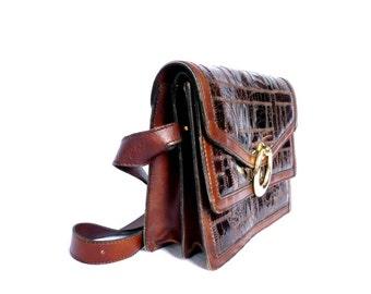 MARYZE French Vintage Brown Leather Patch Handbag/ Messenger Bag