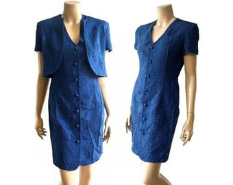 GARDENIA French Vintage Cobalt Blue Jaquard Dress with Bolero