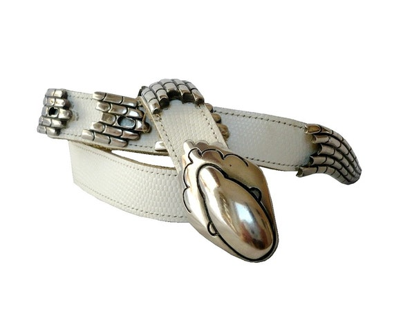 SERPENT French Vintage Leather Belt with Metal Snake Charms