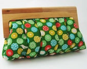 SALE Clutch Bag with wooden frame XXL Green Bird and Flower