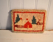 Antique small hooked rug holiday Christmas winter scene