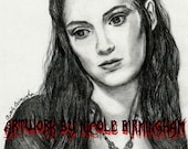 "ORIGINAL Portrait Drawing: ""Absinthe Makes the Heart Grow Fonder"" - Mina Harker Winona Ryder Bram Stoker's Dracula Art"