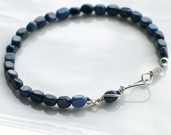 Navy Blue Stone Jewelry Set, Artisan Silver Metalwork Earrings and Bracelet, Gift Set under 50 dollars