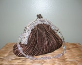 1950's Brown Ruched Satin Beaded Purse /  Beaded Clutch / Fancy Purse / Formal Purse / Mid Century Purse