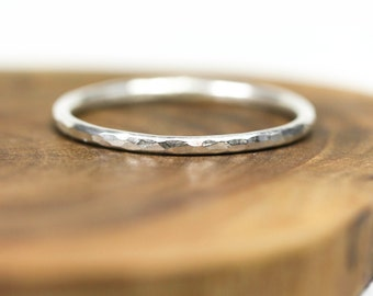 Sterling silver stacking ring - textured - dainty - hammered - etsymetal team
