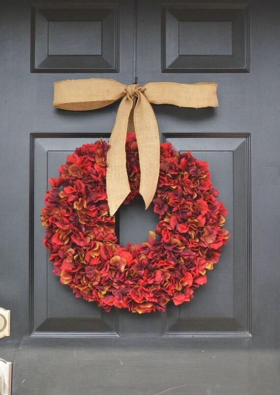 Essence of Fall Hydrangea Wreath- Fall Wreath- Fall Decor- Fall Hydrangeas Wreath Burlap Ribbon- Pumpkin Decoration- Pumpkin Decor- Wreaths