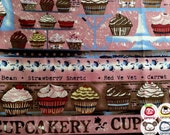 Fabric, Canvas, Cotton, pink, cupcake, FAT QUARTER, japanese, japan, half yard, yard, meter, yuwa, girl, children, textile, kid, cake