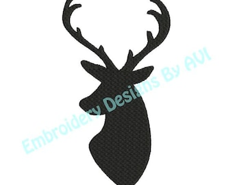 Deer Head Buck Antlers Silhouette Shadow Machine Embroidery Designs 4x4 & 5x7 Instant Download Sale