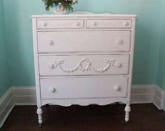 custom order antique dresser shabby chic white distressed swags wreath cottage prairie vintage bedroom tallboy
