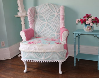 shabby chic slipclovered wing back chair vintage chenille bedspread aqua pink white custom made to order