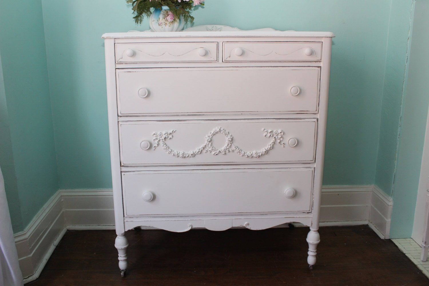 custom order antique dresser shabby chic white distressed. Black Bedroom Furniture Sets. Home Design Ideas
