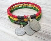 Rasta Bangle Stack, Red, Gold and Green, 3 piece set, Bohemian Tribal Bracelets, Silk Wrapped