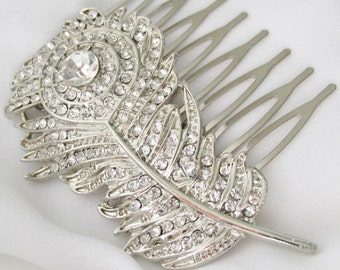 Rhinestone Feather Hair Comb, Crystal Bridal Feather Hair Comb, Peacock Feather Wedding Comb, Wedding Hair Combs, Silver Feather Headpiece