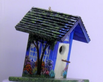 Tilting Birdhouse , One of a Kind Original Design , Hand Made , Hand Painted , Blue with Lots of Color