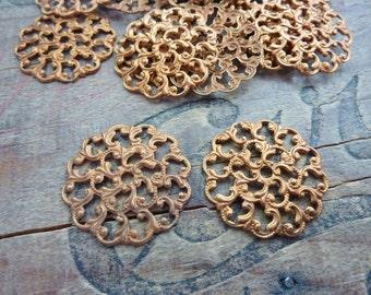 Vintage Warm Brass Filigree Stampings (2)