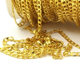 5 M (5 X 3 Mm) Gold Tone Brass Soldered Curb Chain - Ch001  ( Z036 )