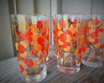 Set of 6 Gorgeous Glasses with Gold , Red and Orange Design