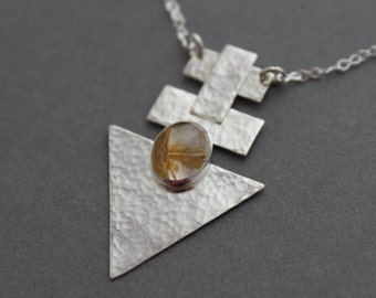 Sterling Rutilated Quartz - Geometric Chevron - Through the Heart