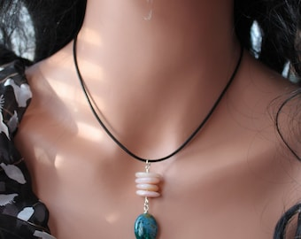 Pink Peruvian Opal Chrysocolla  Sterling Necklace - Leather Corded choker - Beaded Drop Necklace