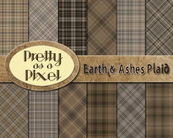 Digital Paper Pack - Earth & Ashes Plaid - Scrapbooking Backgrounds - Set of 12 - INSTANT DOWNLOAD